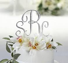 monogram cake toppers silver monogram wedding cake toppers initials with