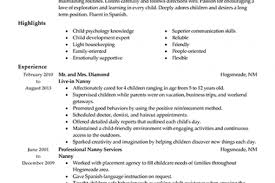 Nanny Job Description On Resume by Best Nanny Resume Nanny Resume Sample Babysitter Sample Resume