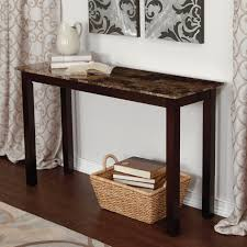 Marble Laminate Flooring Brown Marble Top Console Table With Dark Brown Wooden Bar Base On