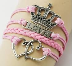 double heart charm bracelet images Vintage crown bracelet love double heart charm bracelets hand jpg