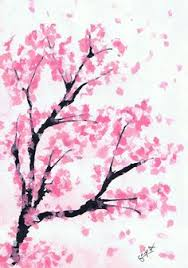 pink cherry blossom tree watercolor painting by littlecatdraw