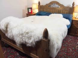 White Sheepskin Rugs Flooring Comfortable White Sheepskin Rug On Oak Tufted Bed Plus
