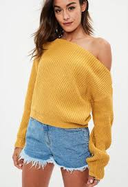 yellow sweater yellow shoulder cropped sweater missguided