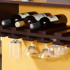 Walnut Wine Cabinet Amazon Com Iohomes Venire Wall Mounted Wine Rack And Glass Holder