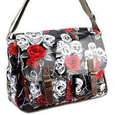 skull rose print buckle pocket oilcloth shoulder bag women handbag