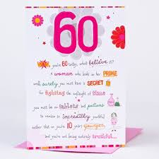 birthday cards for 60 year woman 60th birthday card wow 60 today only 59p
