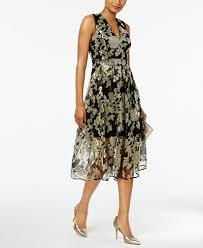 vince camuto floral sequined fit u0026 flare midi dress dresses