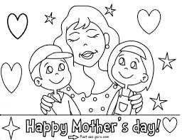 printable happy mothers children coloring pages