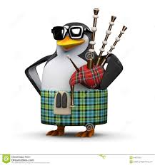 3d scottish penguin plays the bagpipes stock illustration image