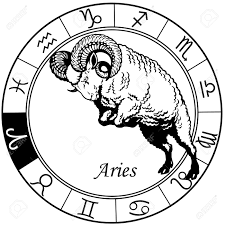 aries or sheep astrological zodiac sign black and white image