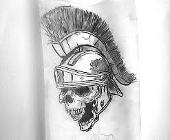gladiator skull in helmet tattoo drawing in 2017 real photo
