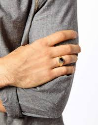 signet ring men asos signet ring with engraved detail in metallic for men lyst