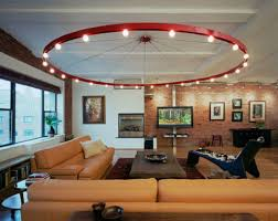 Bright Interior Nuance Interior Modern Living Room Lighting With Big Red Circle Frame