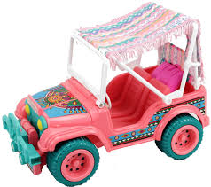 pink toy jeep barbie 1990 suncharm desert rider jeep western fun set