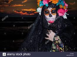 la calavera catrina female skeleton figure symbolizing the stock