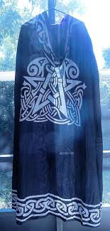 ritual cloak black pentacle cloak celtic animal pentagram ritual robe
