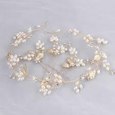 wedding hair pins dower me new gold leaf hair pins bridal headband pearls wedding