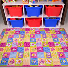 Girls Pink Rug Girls Colourful Pink Fun Kids Butterfly Patchwork Rug Kukoon