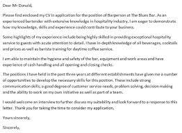bar assistant cover letter
