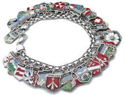 vintage silver bracelet charms images Vintage silver enamel travel shield bracelet jpg