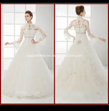 china high neck long sleeve bridal gown lace appliques ball gowns