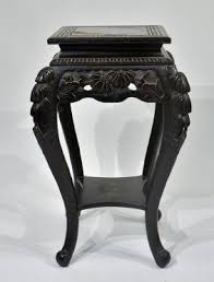 Dictionary Pedestal Japanese Black Lacquer Carved Wood Pedestal Table Displays