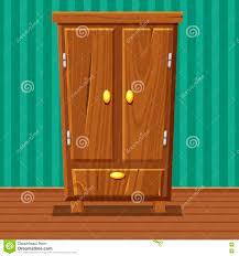 cartoon funny closed wardrobe living room wooden furniture stock