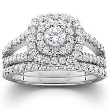 cheap wedding rings sets 1 1 10ct cushion halo diamond engagement wedding ring set 10k