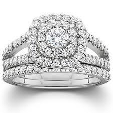 cheap wedding rings sets 1 1 10ct cushion halo diamond engagement wedding ring set 10k
