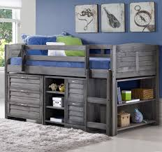 evan twin low loft slat bed with bookcase and chest u0026 reviews