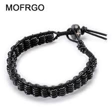 black bracelet women images Mofrgo ebony wood flat beads with yak bone handmade weave rope jpg