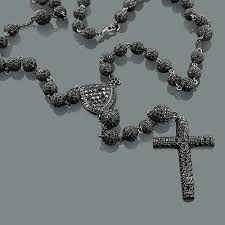 black rosary necklace images Black disco bead rosary necklace hip hop jewelry jpg