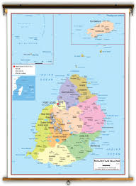 Africa Map Political by Mauritius Island Political Educational Wall Map From Academia Maps