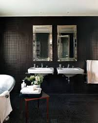 black mosaic bathroom tiles colors with double sinks and mirrors