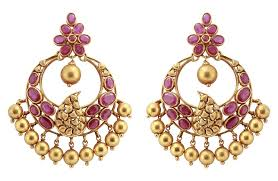 earrings image gold chandbali earrings with rubies jl au 107 jewelove