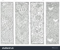 coloring page valentines day bookmarks stock illustration