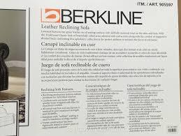 Berkline Recliner Sofa Berkline Leather Reclining Sofa Costco Weekender