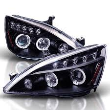 2004 honda accord headlights jun yan black dual halo led projector headlights for honda accord