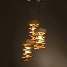 Three Light Pendant Spiral Wood Designer Multi Light Pendant Light With Round Canopy