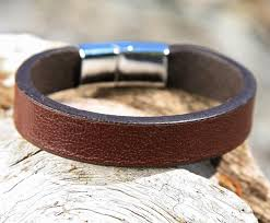 leather bracelet clasp images Brown leather cuff bracelet with sliding magnetic clasp jpg