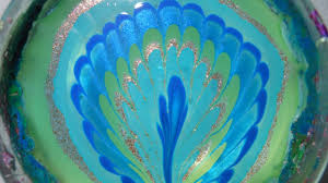 peacock feathers inspired water marble youtube