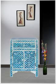 ocean blue marrakech bone inlay one drawer two door bedside table