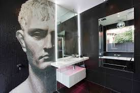mosaic bathrooms ideas unexpected mosaic portrait dominating small modern bathroom in