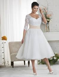 plus size wedding dresses with sleeves tea length white plus size wedding dress pluslook eu collection