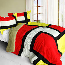 Red And Black Comforter Sets Full Red Black Yellow Patchwork Teen Boy Bedding Twin Full Queen King