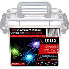 werchristmas snowflake v window curtain net lights 15 colour