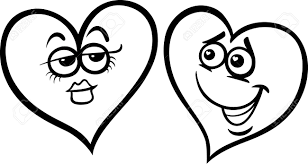 black and white cartoon illustration of two hearts in love on