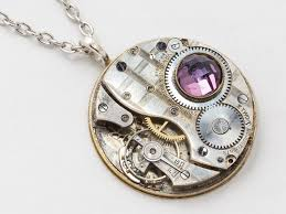 vintage crystal pendant necklace images Steampunk necklace silver pocket watch movement gears amethyst jpg