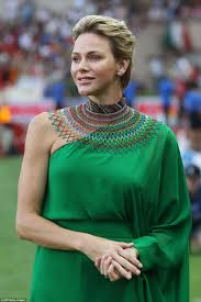 green dress princess charlene dazzles in the shoulder green dress daily