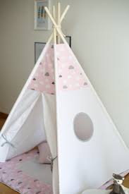 dreamy pink cloud kids teepee play tent wigwam with a padded floor